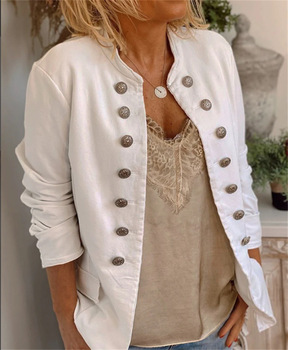 Stand Collar Slim Jacket New Urban Casual 2020 Spring Cotton and Linen European and American Women Coat