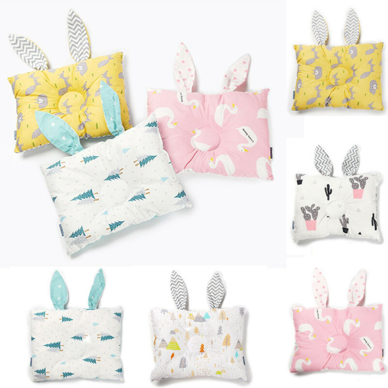 Newborn Baby Rabbit Fashion New Breathable Cute Pillows Prevent Anti Roll Flat Head Baby Pillows