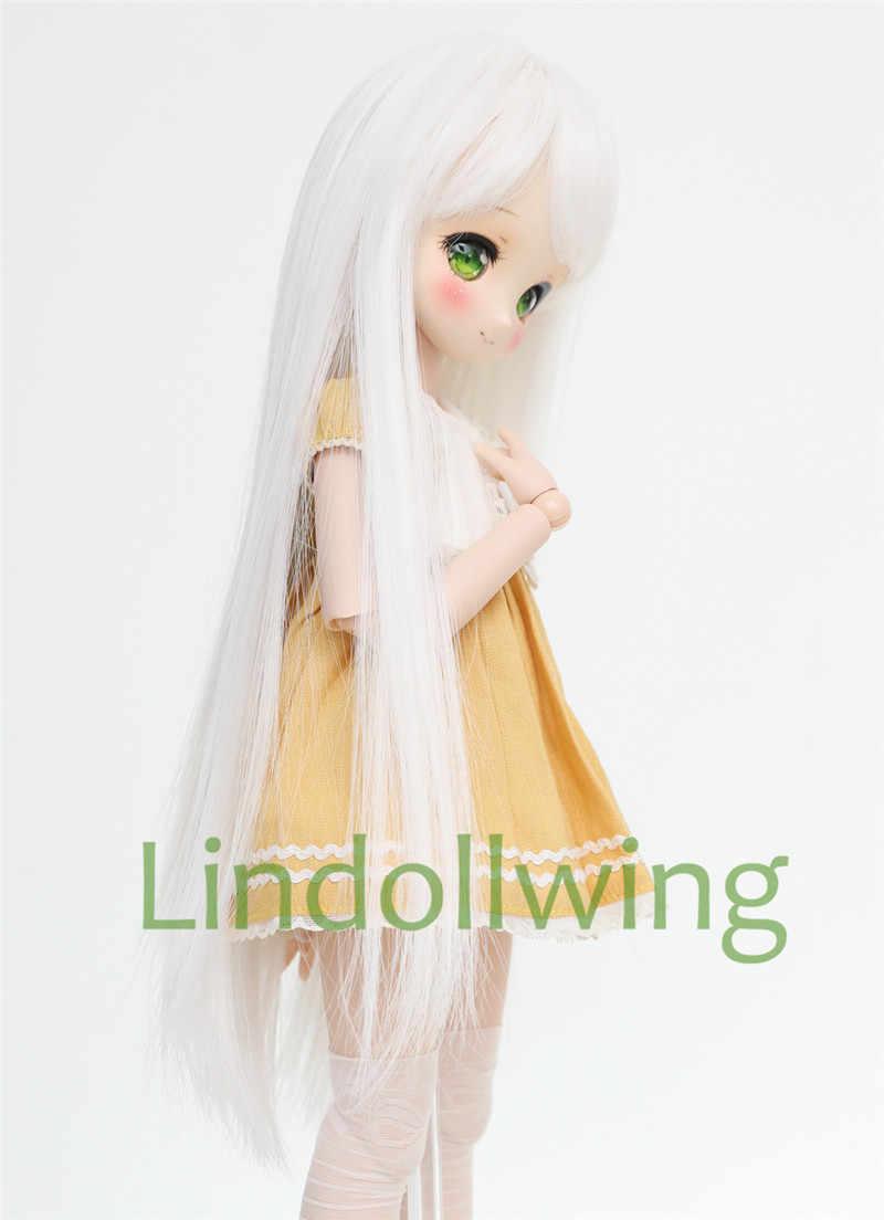 1/3 BJD perruque Pullip Dal DD SD LUT Dollfie poupée perruque haute température cheveux 8-9 pouces longue perruque cheveux blancs