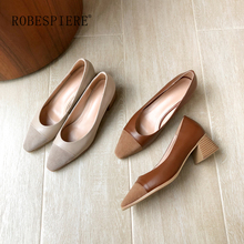 ROBESPIERE New Pop Brown Hoof Heels Womens Pumps Quality Genuine Leather Square Toe Shoes Woman Wedding Party Office A31