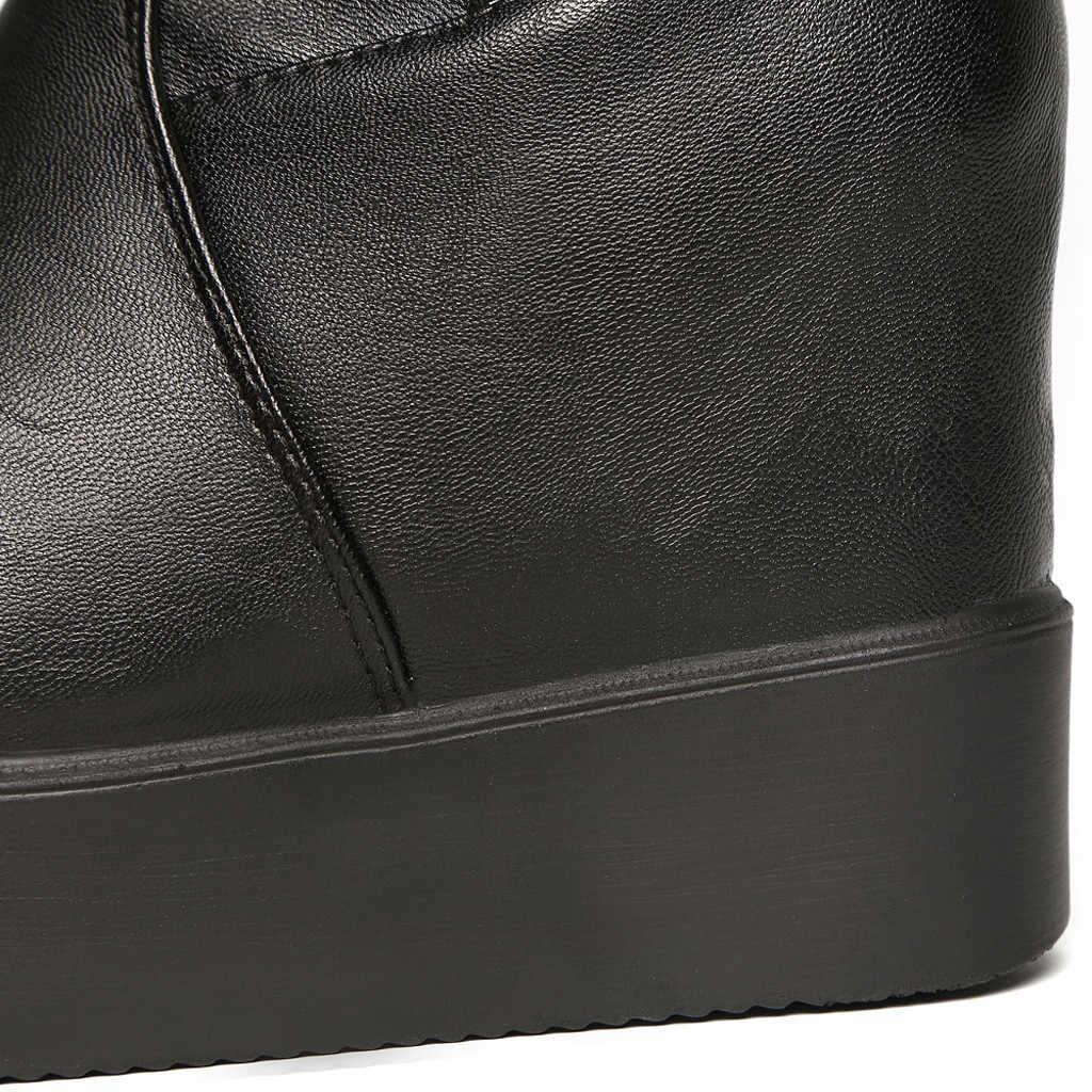 ผู้หญิงอบอุ่นรองเท้า 2019 ฤดูใบไม้ร่วงและฤดูหนาวใหม่เพิ่มขึ้นแพลตฟอร์มกันน้ำเข่ารองเท้ายืดหยุ่นรองเท้าผู้หญิงรองเท้า