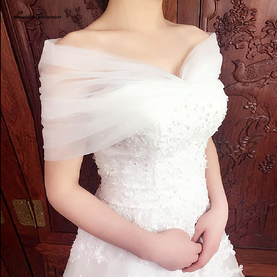 Lakshmigown Short Wedding Bolero Women Capes Lace Up Back Sexy Bridal Cape Femme Wedding Accessories 2019