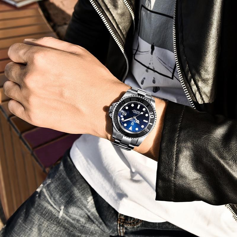 Reloj de diseño PAGANI para hombres reloj mecánico automático de buceo de acero inoxidable resistente al agua 100M de moda de negocios reloj Masculino - 5