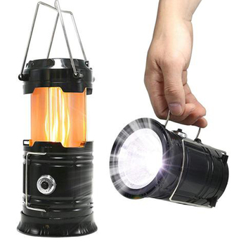 3-in-1 Camping Lantern Solar Power 2 LED Light Source Poweful Portable Outdoor Tent Light Lamp LED Flame Lantern Flashlights