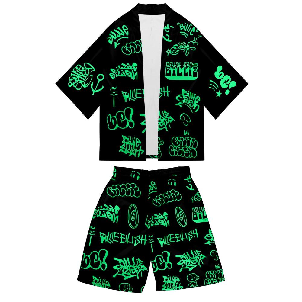 WAMNI Billie Eilish 2 Piece Set Women Men Shorts Suit Kimono Cardigan Suit Summer Fashion Harajuku Kimono And Shorts Costume