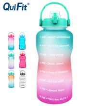 Quifit 2l 3.8l tritan galão garrafa de água suporte de smartphone com flip-flop bpa garrafas livres portátil esportes titular móvel ginásio jarro