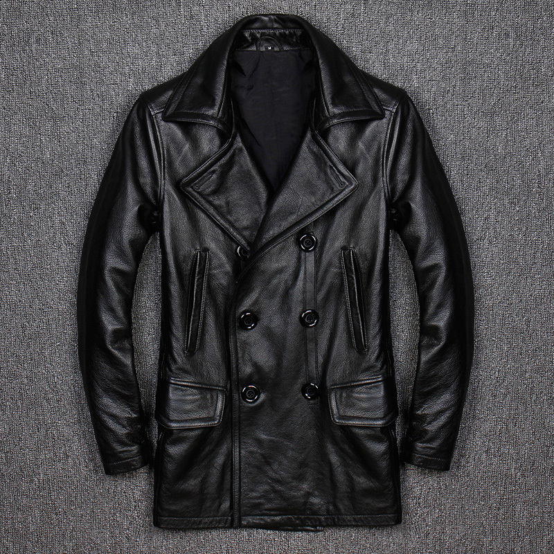 Men's Leather Jacket Double-breasted Genuine Leather Jacket Men Plus Size Windbreaker Korean Vest Cuir Homme KJ1931