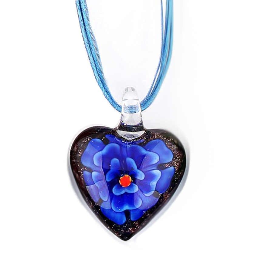 QIANBEI แฟชั่นสีสาวคริสต์มาสอุปกรณ์เสริมจี้หัวใจสร้อยคอ Lampwork Murano แก้วจี้สร้อยคอสีสำหรับเลือก