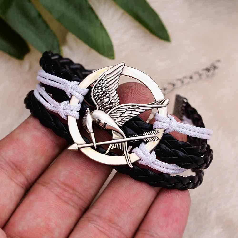 Blaike Vintage Multilayer Braided Lilin Tali Gelang untuk Wanita Pria The Hunger Games Mockingjay Gelang Bangle Perhiasan Retro