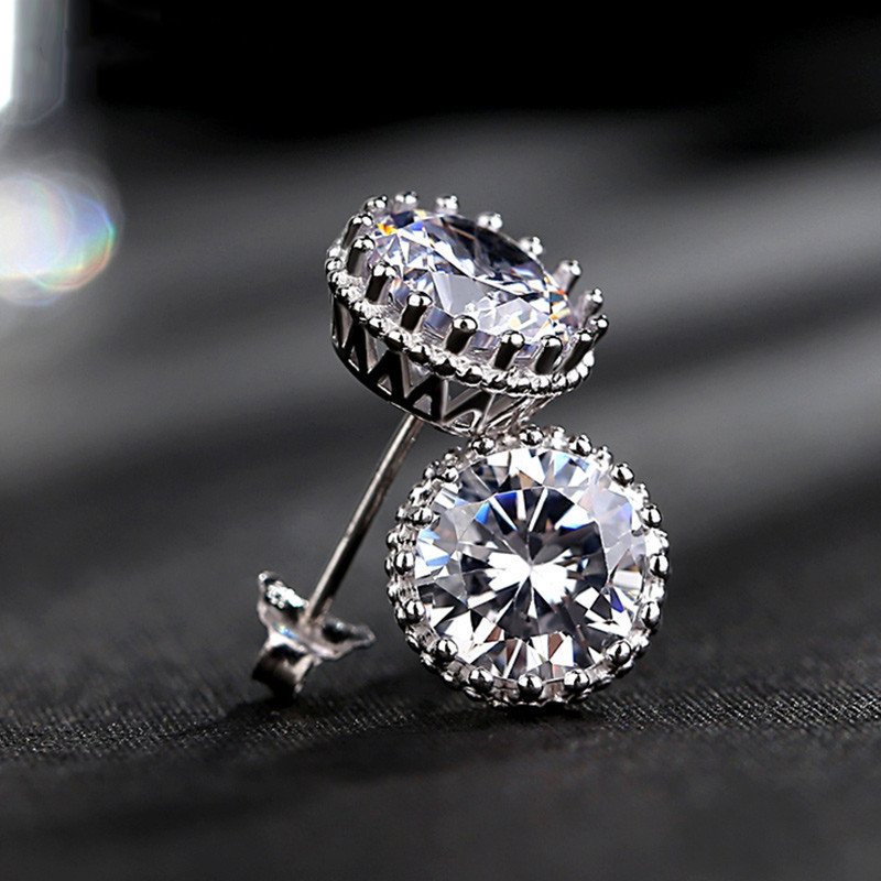 Knobspin Sparkling D Color Moissanite Stud Earrings For Women 100% 925 Sterling Silver Plated 18K Wedding Party Bridal Jewelry