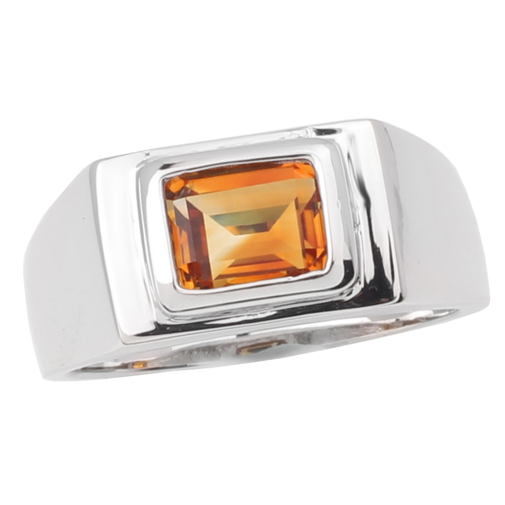 Men Ring Yellow Citrine Gemstone 925 Sterling Silver Band 7x9mm Natural Crystal November Birthstone Jewelry R509GCN