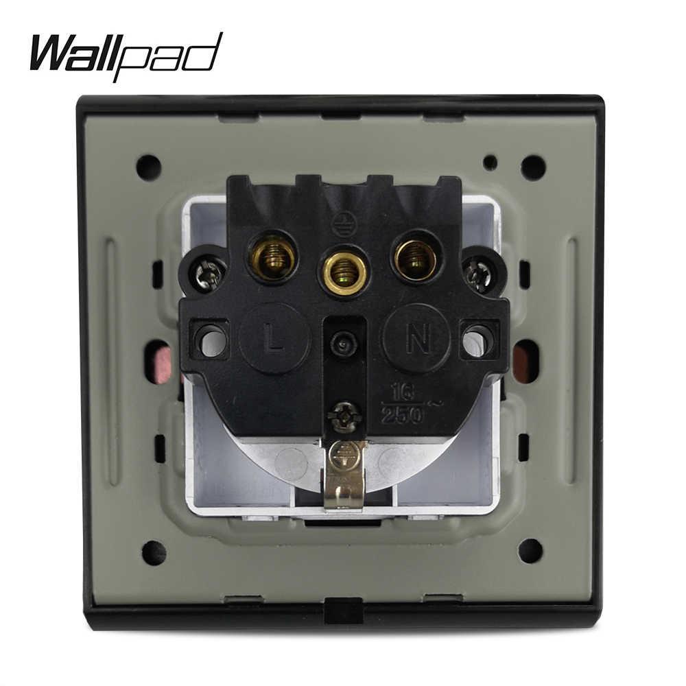 Gorąca sprzedaż ue niemieckie gniazdo Wallpad luksusowe skórzany panel srebrny złoty ramka do obrazu gniazdka elektrycznego 16A AC 110 ~ 250V
