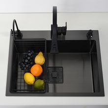 Preto único pia da cozinha vegetal bacia de lavagem aço inoxidável pia drainerlavabo accessoire lavabo cozinha melhoria da casa