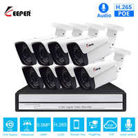 Keeper H.265 8CH 5MP POE Security Camera System Kit Audio Record IP Camera IR Outdoor Waterproof CCTV Video Surveillance NVR Set