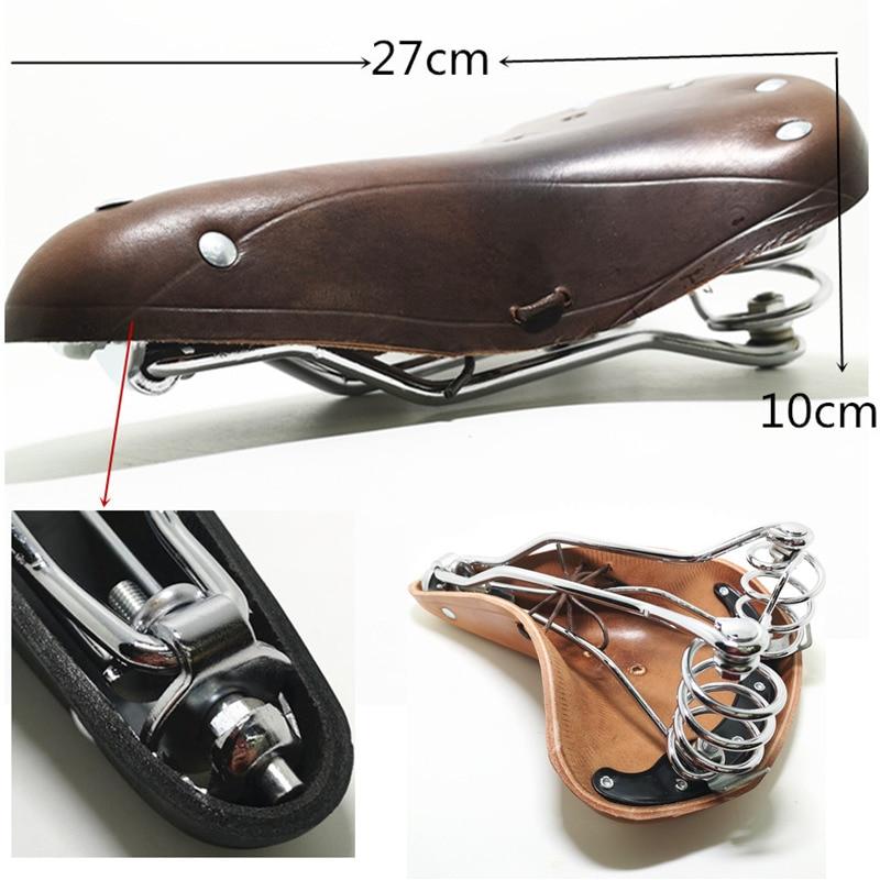Купить с кэшбэком Vintage 2628 bicycle saddle genuine leather old style bicycle spring saddle genuine leather car seat TDX-4