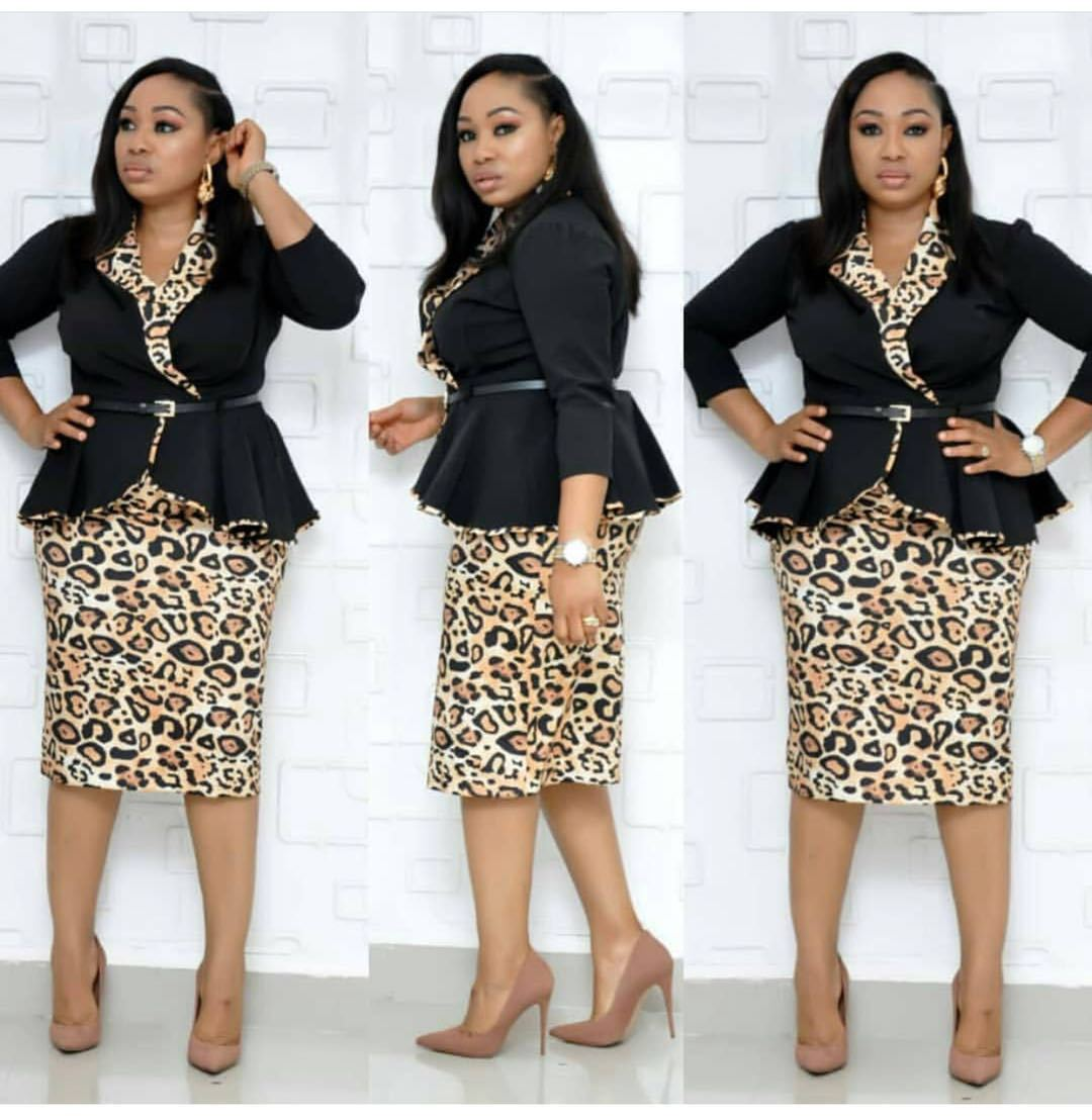 Women's Two Pieces Sets Suits Mid-Calf Leopard Skirt  V-Neck Sashes Office Lady Three Quarter Red Black Blue 2020 New Arrival