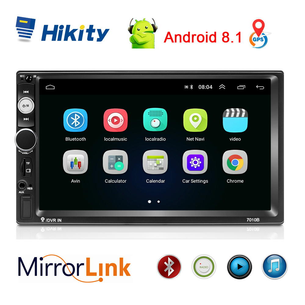 Hikity 2 Din Car Radio Android 8,1 7010B GPS 7
