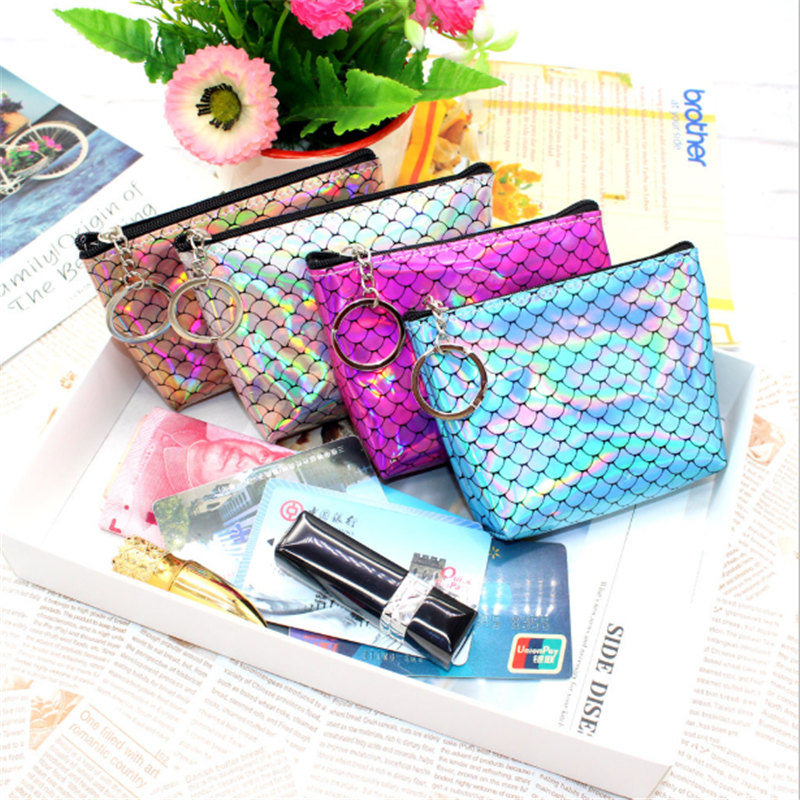 Vogvigo Mermaid Toiletry Bags Travel Cosmetic Bag Casual Zipper Make Up Makeup Case Organizer Storage Beauty Bags Girl Purse