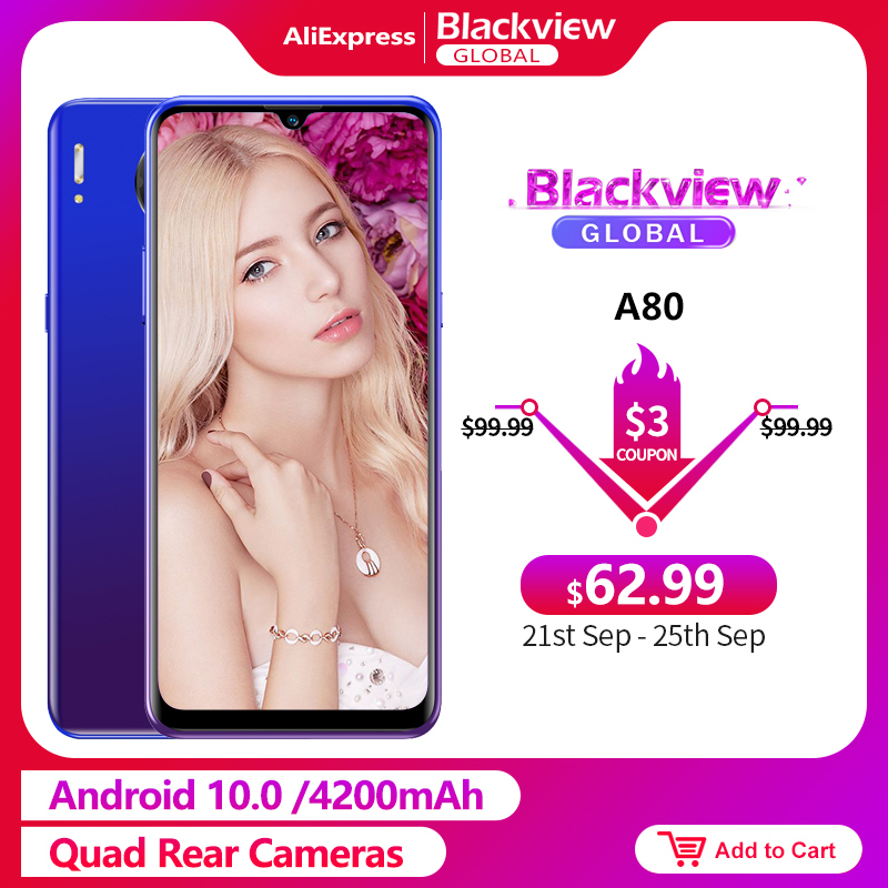 Blackview A80 6.21'' HD+ IPS Screen Android 10.0 Go Mobile Phone 2GB RAM 16GB ROM Quad Rear Cameras 4G Smartphone 4200mAh(China)