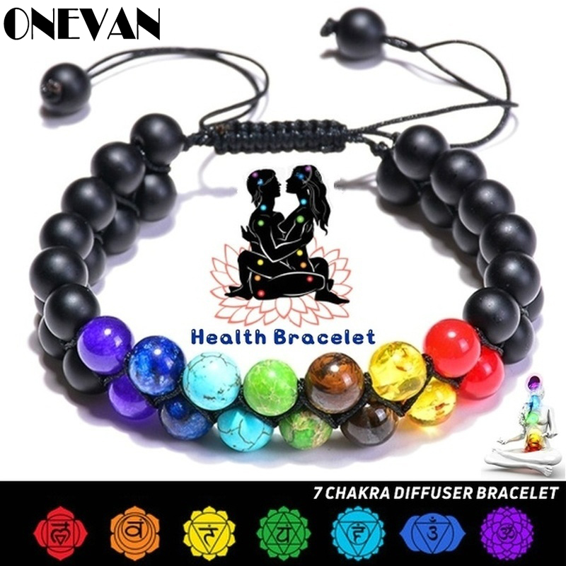 7 Chakra Natural Stone Handmade Braided Double Layer Lava Bracelets Men Women Adjustable Energy Colorful Beaded Bracelet