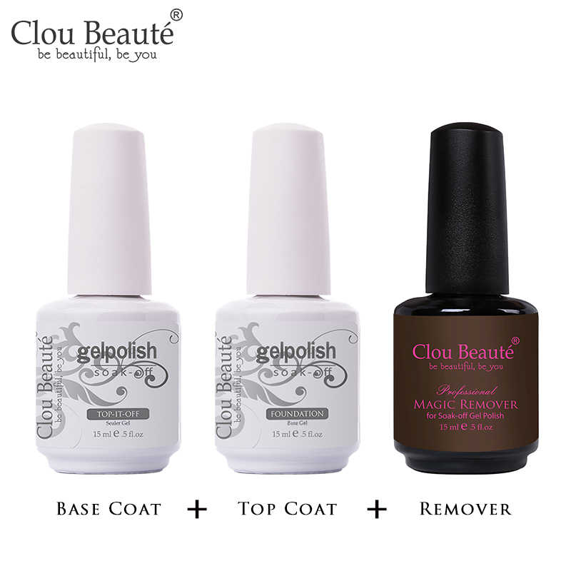 Clou Beaute 15 Ml UV LED Gel Cat Kuku Dasar Primer Tidak Bersih Top Coat Pernis Kuku Gel Primer Transparan nail Art Lacquer