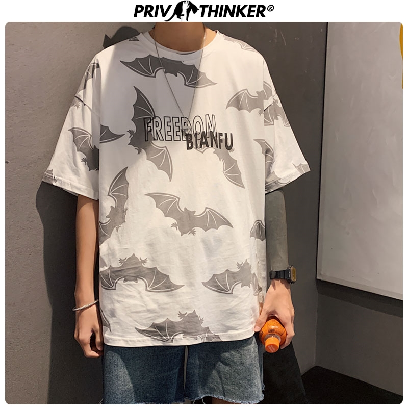 Privathinker 2020 Summer Bat Print Men's T-shirt Hip Hop Fashions Tshirts Men Oversize M-5XL Male Cotton High Quality T Shirt