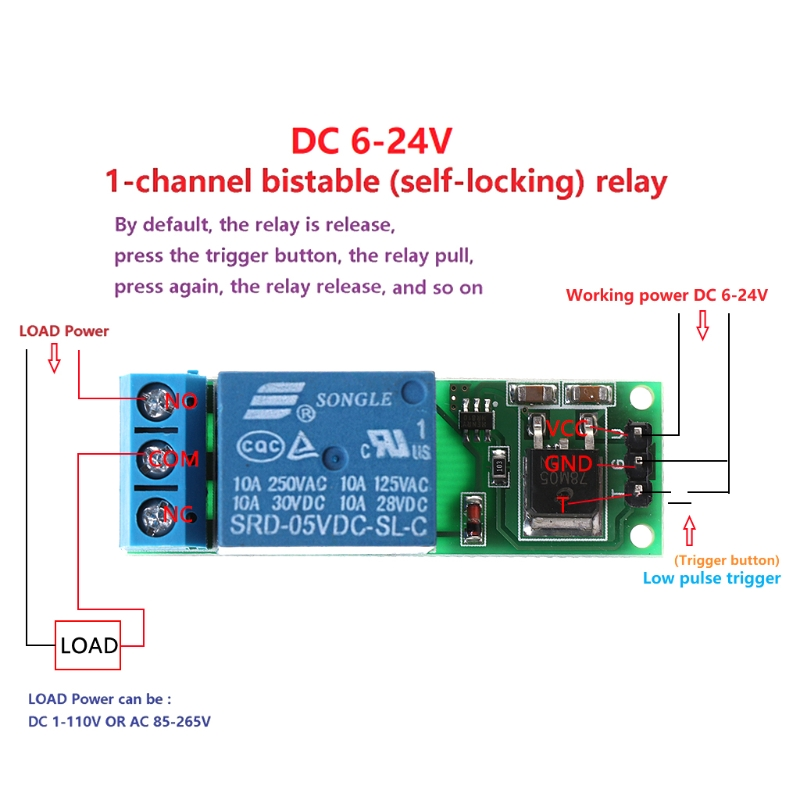 6-24V Flip-Flop Latch Relay Bistable Self-locking Low Pulse Trigger Module L29K