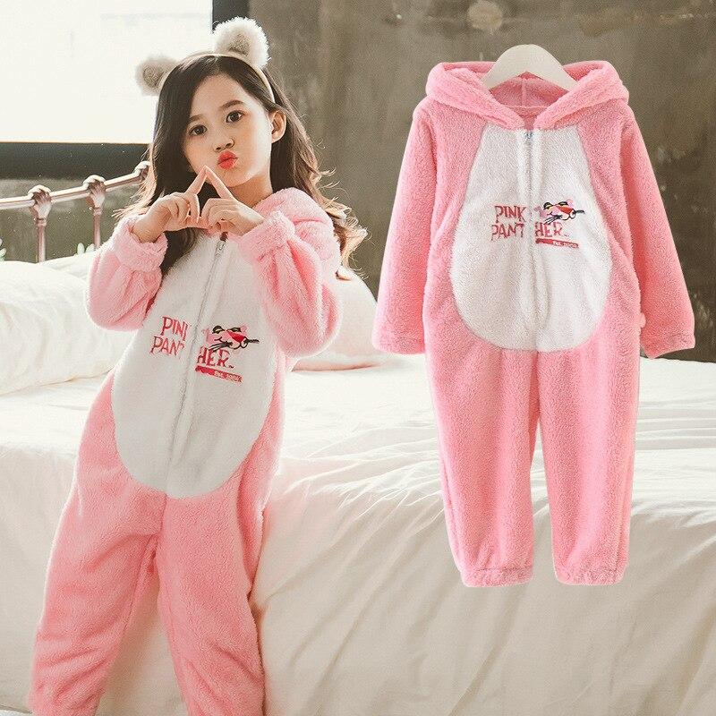 Childrenswear 2018 New Style Winter Girls Flannel One Piece Pajamas GIRL'S Cartoon Warm Pajamas
