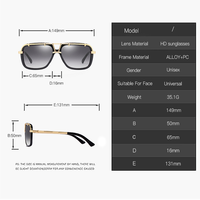 2020 Fashion Men Flat Top Sunglasses Classic Women Brand Designer Metal Square Sun Glasses UV400 Protection 4