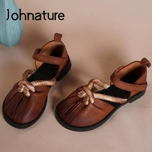 Retro Shoes Women Sandals Johnature Handmade Flat Genuine-Leather Hook Sewing with Concise