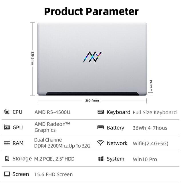 Machenike AMD Ryzen 5 4500U Laptop WiFi 6 Ultrabook R5 4500U 8G 3200MHz 512G SSD 15.6'' FHD Notebook Office Student Laptop 6