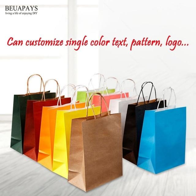 50pcs Handbag Customized Creative Clothing Gift Bag baby shower wedding christmas Milk Tea Packing Bag White Kraft Paper Bags