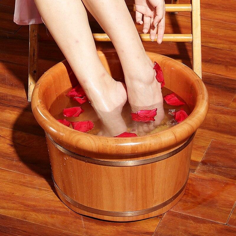 Seau de bain de pied cuit à la vapeur en bois massif massage ménager lavage baignoire pour les pieds seau de fumigation adulte chêne thérapie des pieds bain à remous
