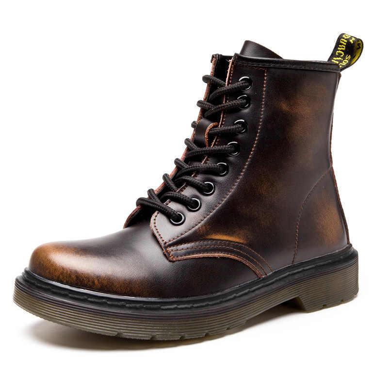 Moda yarım çizmeler kadın botları için severler hakiki deri Martin çizmeler kadınlar için kış çizmeler kadın ayakkabıları patik artı boyutu 43