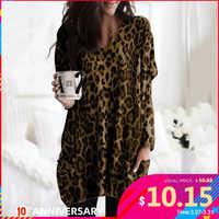 Celmia Plus Größe Vintage Langarm Tunika Tops Frauen Sexy V-ausschnitt Taschen Blusen Casual Leopard Print Shirt Elegante Arbeit Blusas