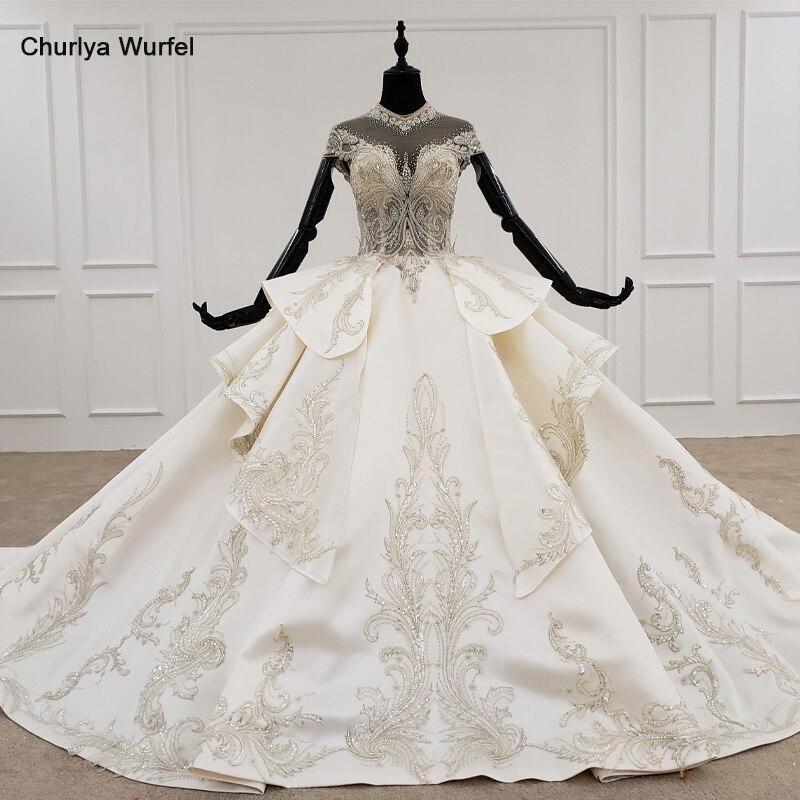 HTL1221 Bohemian Wedding Dress High Neck Short Sleeve Beading Crystal Illusion Lace Up Luxury Wedding Gowns Vestido De Noiva New