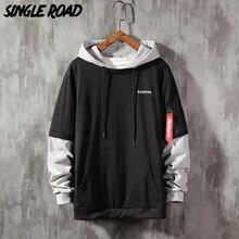 SingleRoad Mens Hoodies Men 2020 Spring Patchwork Ribbon Casual Sweatshirt Male Japanese Streetwear Hoodie Men Sweatshirts Man