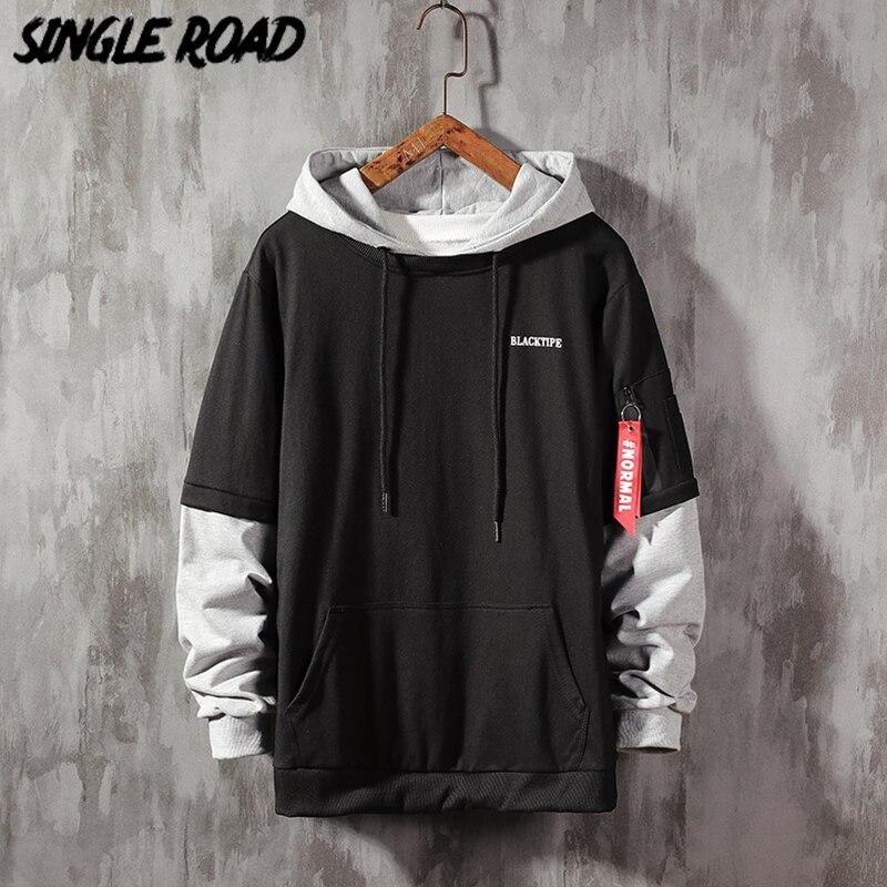SingleRoad Men's Hoodies Men 2020 Spring Patchwork Ribbon Hooded Sweatshirt Male Japanese Streetwear Hoodie Men Sweatshirts Man
