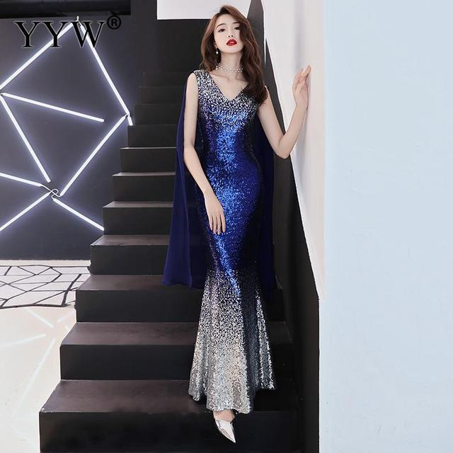 Luxury Gradient Sequined Mermaid Dress Sexy V Neck Prom Dress Women Fashion Formal Party Gowns Zipper Back Trumpet Evening Dress