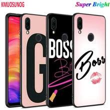 Black Silicone Cover Cute girl boss for Xiaomi Redmi Note 8 7 6 5 4X 4 K20 Pro 7A 6A 6 S2 5A Plus Phone Case black silicone cover christmas cute snowman for xiaomi redmi note 8 7 6 5 4x 4 k20 pro 7a 6a 6 s2 5a plus phone case