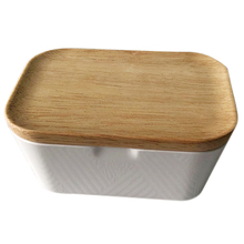 Enamel Butter Dish Box Container With Wooden Cover Home Tool Useful, Storage 250ml Multi-Function Preservation B