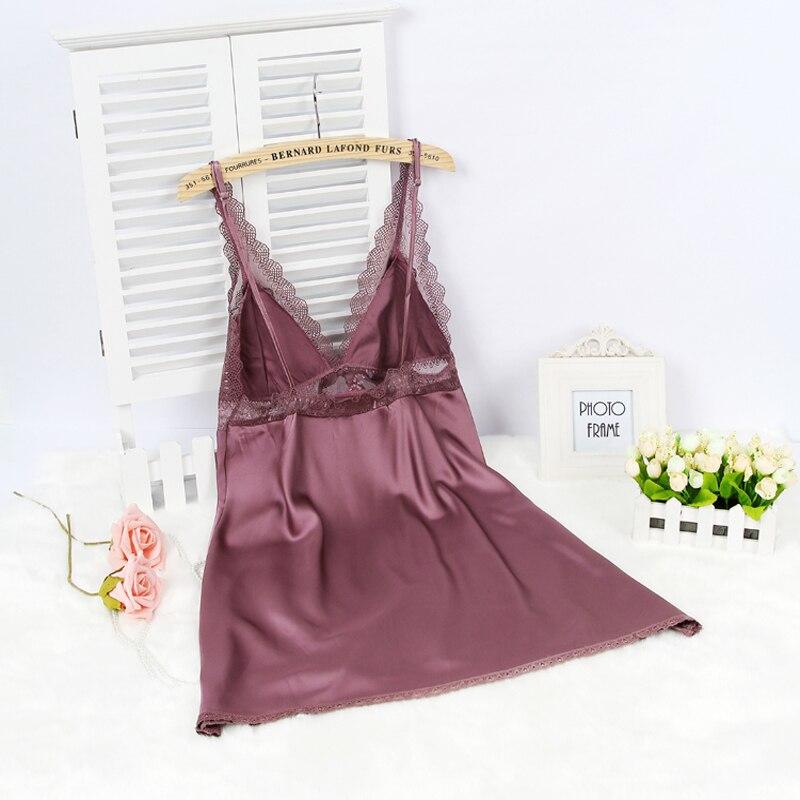 Wanita Sutra Satin Gaun Malam Renda Gaun Malam Musim Panas Gaun Rumah - Pakaian dalam - Foto 2