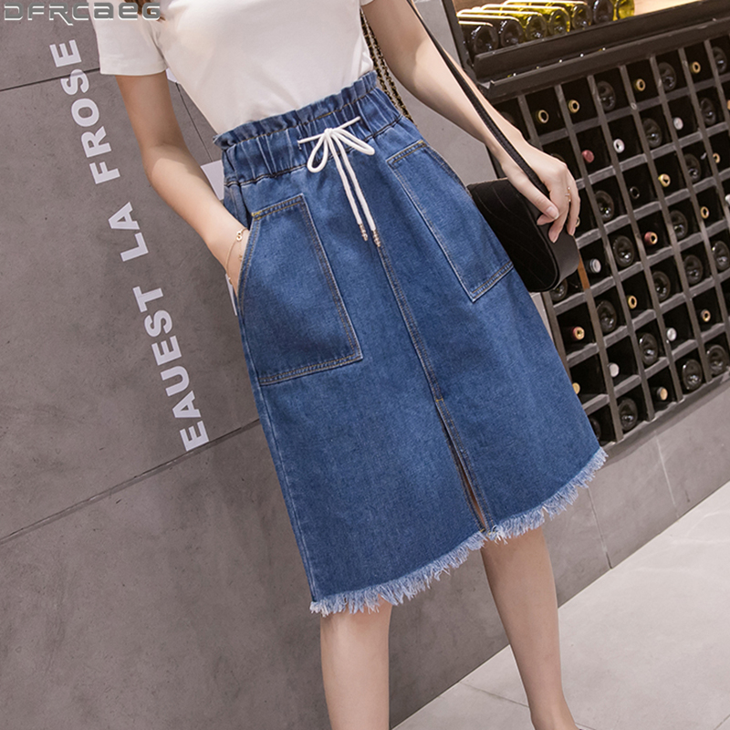 Vintage Elastic Waist Woman Jeans Skirt 2020 Summer Drawstring Big Pockets Midi Saias Split Burrs Plus Size Denim Skirts Female