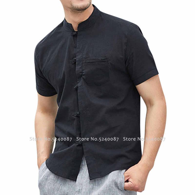 מסורתי בסגנון הסיני Hanfu חולצה וו טאנג חליפת גברים Cheongsam חדש שנה מעילי קונג פו מדים פשתן T חולצת טי חולצות מעילים