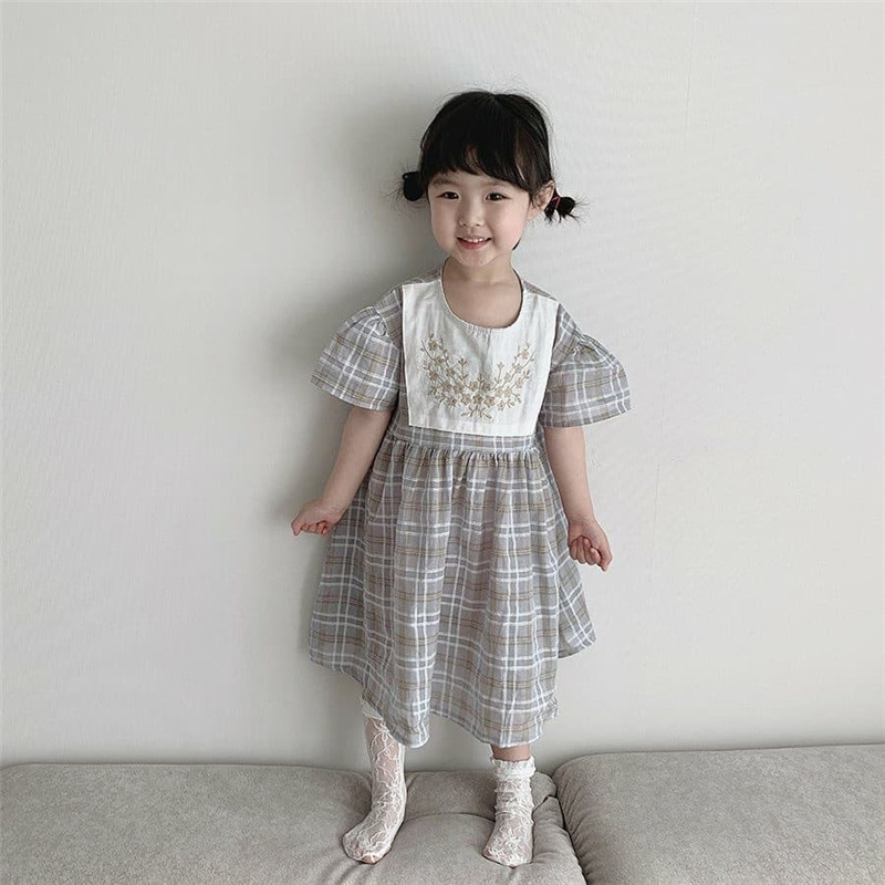 Girls Plaid Dress 2020 Summer Korean Children Kids Princess Dress Embroidery Floral Baby Girls Party Dress Newborn Bodysuits