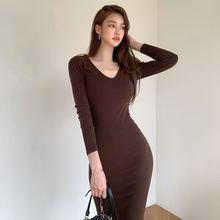 Осенняя новая стильная Корейская темпераментная тонкая вязаная