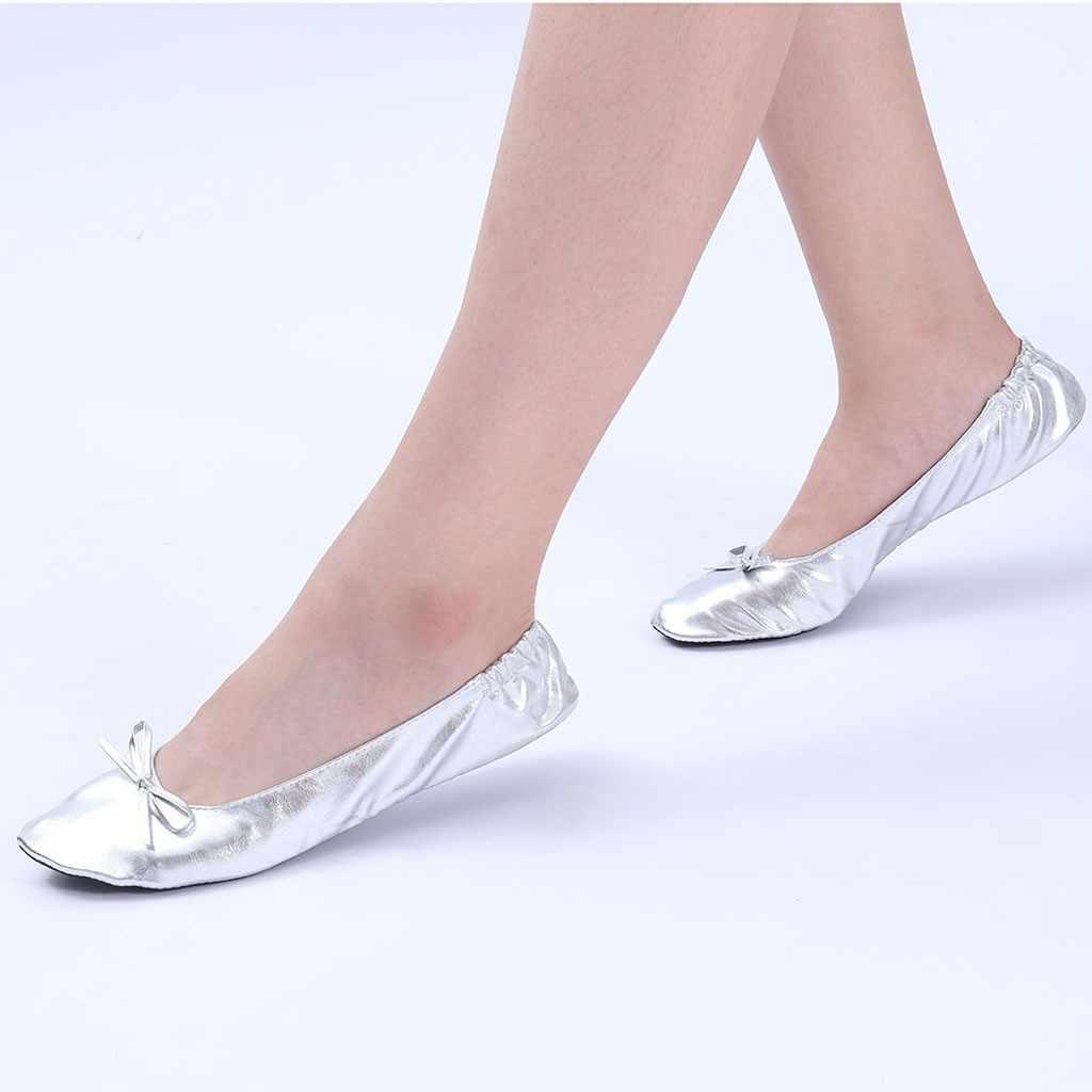 Giày Nữ Đế Bằng Di Động Gấp Gọn Lại Ballerina Flat Cuộn Lên Gấp Ba Lê Sau Khi Đảng Giày Cưới Cô Dâu Cương Lĩnh Đảng