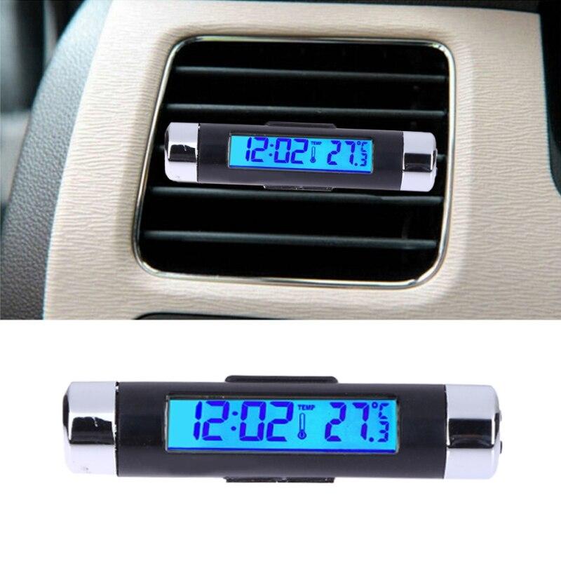 1pcs Blue back light Car Thermometer Clock LCD Clip-on Digital Luminous Backlight Automobile Car Clock Calendar