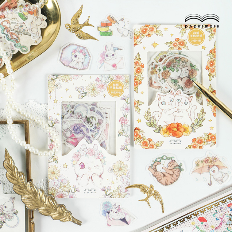 40pcs lot New Rabbit and Pocket Cat sticker paper Decorative Stationery Stickers Scrapbooking DIY Diary Album Stick Lable in Stationery Stickers from Office School Supplies