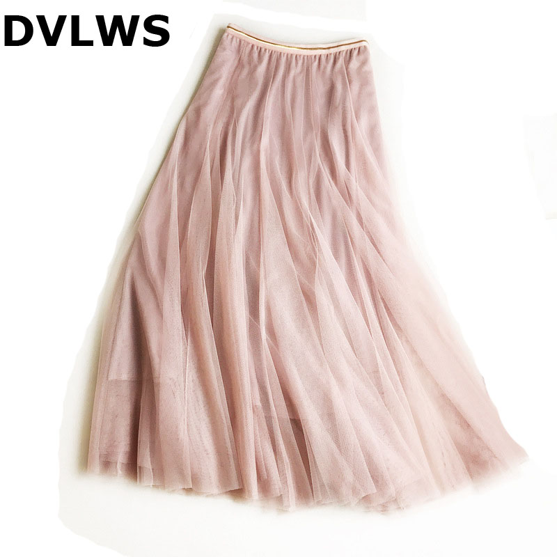 2019 Fashion Korea Japanese Style Autumn Tulle Skirt  Elegant Pink Long Skirt For Ladies  Black Beige Grey Mesh  Skirts  4 Color